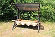 """Качели садовые """"Дубаи"""" черного/коричневого цвета (с мягкой частью), материал основы сидения - дуб, фото 5"""