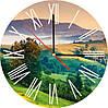 """Стеклянные часы круглые """"Горный пейзаж"""""""