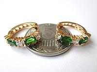 Серьги оригинальные круглые с зеленым камнем