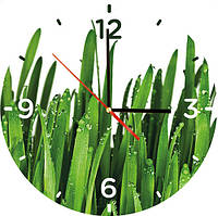 "Стеклянные часы круглые ""Трава"""
