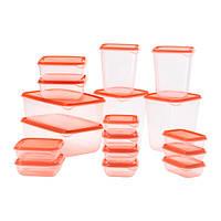 """ИКЕА """"ПРУТА"""" Набор контейнеров, 17 шт., прозрачный, оранжевый"""