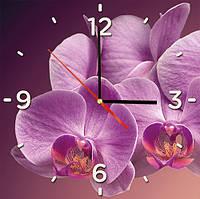 """Стеклянные часы квадратные """"Орхидея"""""""