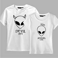 Парные футболки для Него и для Нее с инопланетянами Ангел и Демон Alien . Одежда для влюбленных пар