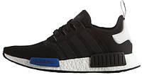 Женские кроссовки Adidas NMD Runner R1 Core Black Blue, адидас НМД