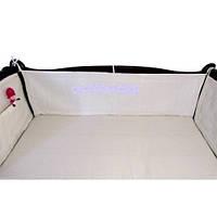 Льняной защитный бортик на детскую кроватку (хлопковый чехол)