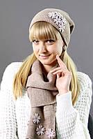 Женская вязанная шапка + шарф