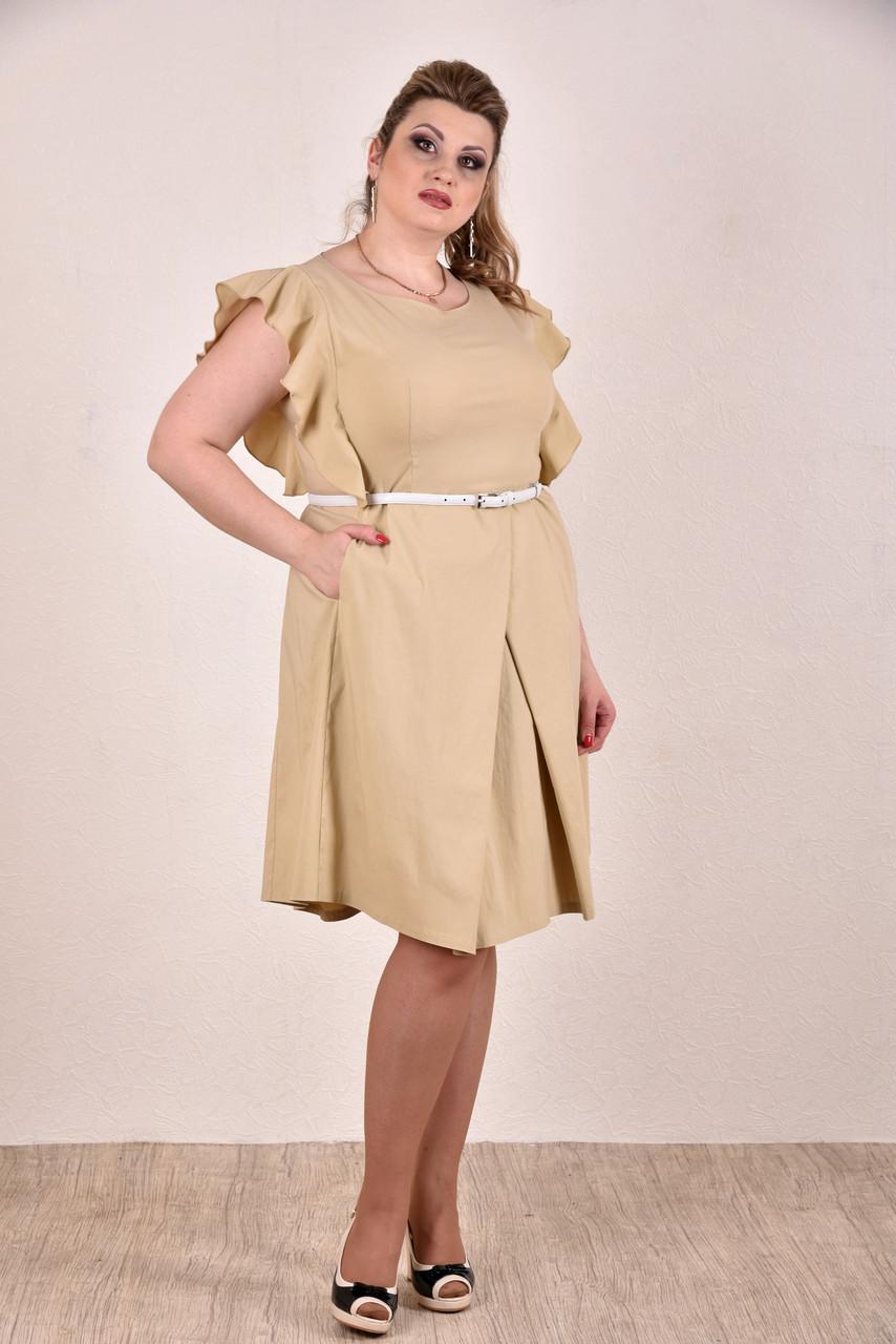 Женское батальное платье на лето 0294 цвет горчица до 74 размера / больших размеров