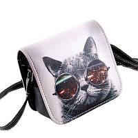 Сумка женская через плечо КОТ в очках мини сумочка клатч двойной рисунок