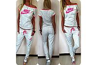 Белый женский спортивный костюм свободная  футболка и штаны Размеры: 42, 44, 46