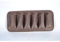 Подсумок на 6 патронов для 12, 16 калибров, открытый, кожа -Ретро- коричневый