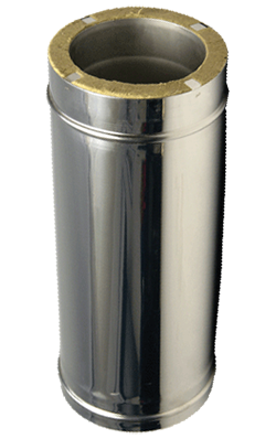Дымоходы для твердотопливных котлов L=1м 1 мм ф150/220 (двустенная труба нержавейка в нержавейке)