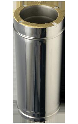 Утеплений сендвіч димар для твердопаливних котлів L=1м 0,8 мм ф125/200 (двостінні труби в нержавіючій сталі)