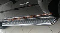 Боковые пороги  труба c листом (алюминиевым) D42 на Mitsubishi Outlander 2010-2014