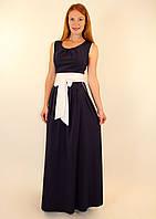 Длинное летнее платье с коротким рукавом 42-48 р ( синий, бирюза, коралловый )