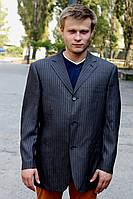 Пиджак в полоску темно-серый мужской
