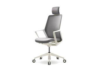 Кресло офисное с подголовником Enrandnepr FLO white серый