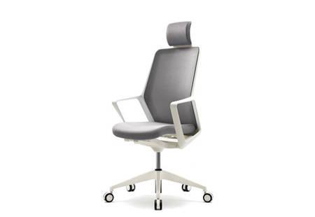 Кресло компьютерное для офиса с подголовником FLO white серая