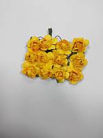 Цветок Роза бумажная желтый