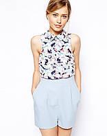 Стильный элегантный женский легкий летний короткий комбинезон с шортами нежного голубого цвета