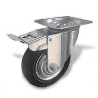 Колесо поворотное  на кронштейне 125 мм с тормозом