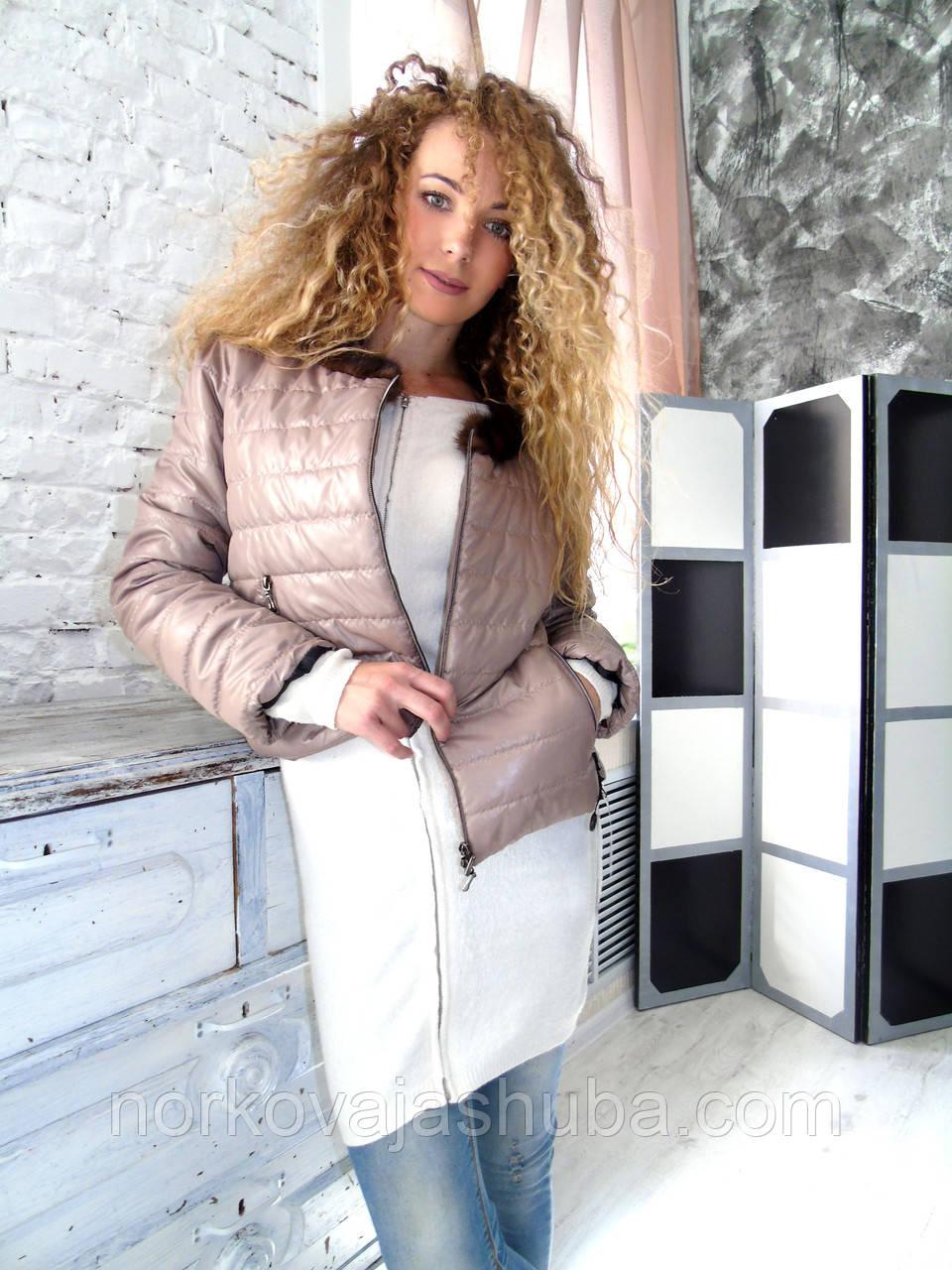 a6bc7989e228 Женская куртка осень весна с меховым 46 48 L воротником норка -  Интернет-магазин FUR