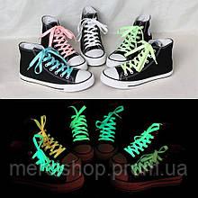 Люминесцентные (светящиеся) шнурки в темноте -2 шт. (зелёные/розовые)