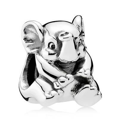 Подвеска-шарм Счастливый слон из серебра 925 пробы
