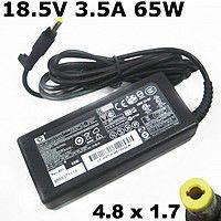 Зарядка для ноутбука HP/Compaq: 18,5V, 3.5A, 65W, A+ класс, штекер 4.8х1.7 мм yellow
