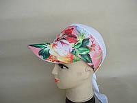 Бандана женская  розовая с цветным рисунком