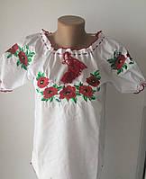 Женская вышиванка в украинском стиле с маками короткий рукав