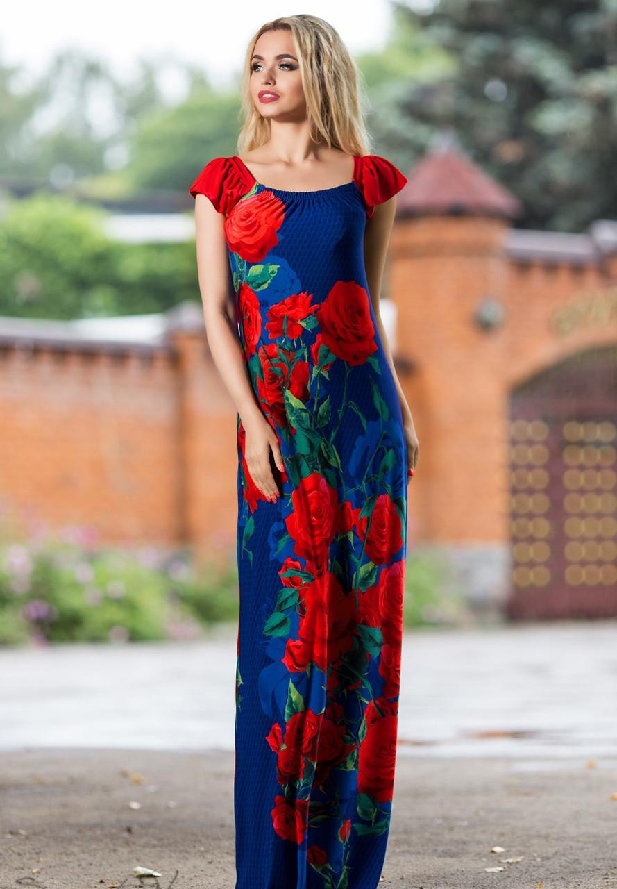d618d781794620b Роскошное Синее Платье в Пол с Красными Розами S-XL - Ukraine In Trend -