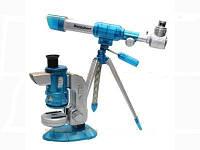 Набор микроскоп проектор 100x200x300х + астроном.телескоп синий 60/90/120 *30мм