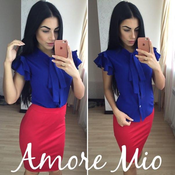 Костюм синяя блуза+цветная юбка-карандаш