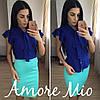 Костюм синяя блуза+цветная юбка-карандаш, фото 2