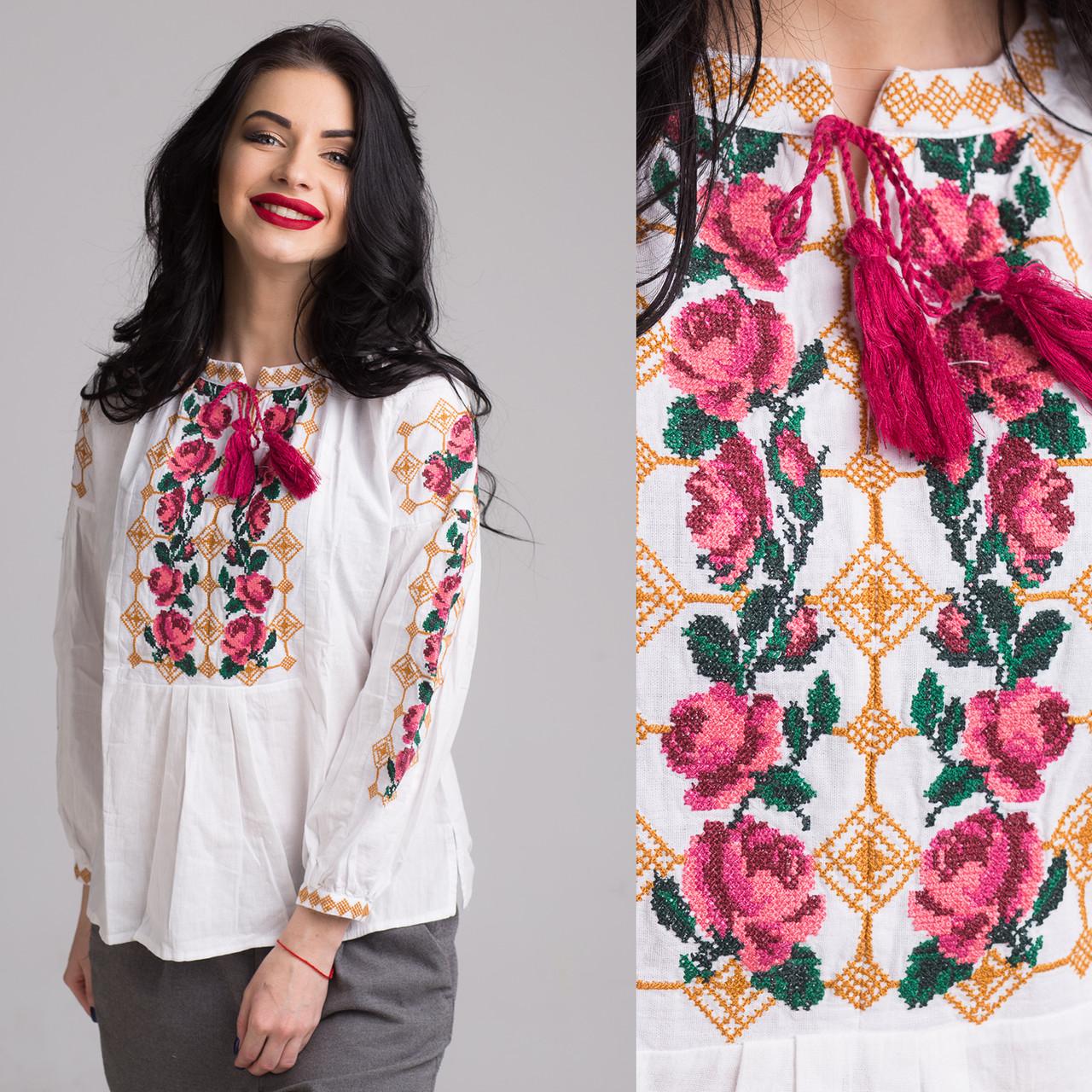 """Блуза женская с вышивкой """"Розы"""" на домотканом полотне"""