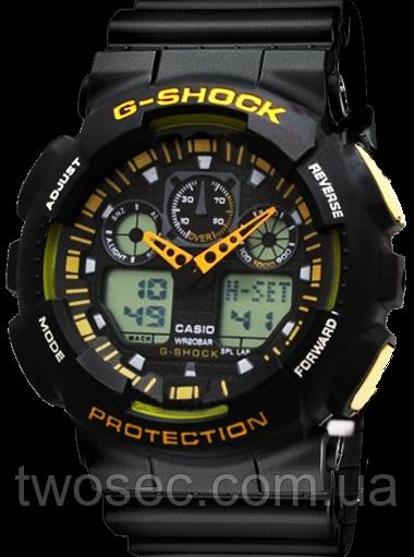 Часы наручные в стиле Casio G-Shock ga-100 Black-Уellow