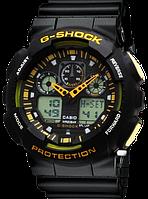 Часы наручные в стиле Casio G-Shock ga-100 Black-Уellow, фото 1
