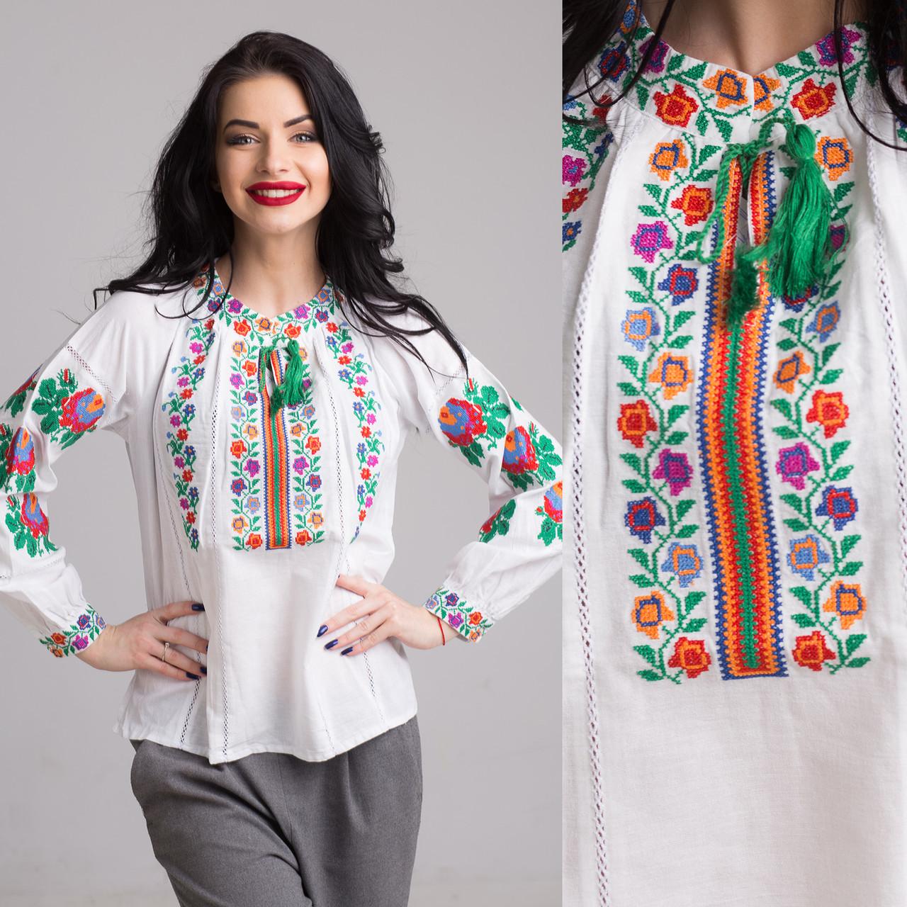 """Женская блуза  с вышивкой """"Радуга"""" на домотканом полотне"""