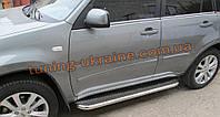 Боковые пороги  труба c листом (нержавеющем) D60 на Mitsubishi Outlander 2014