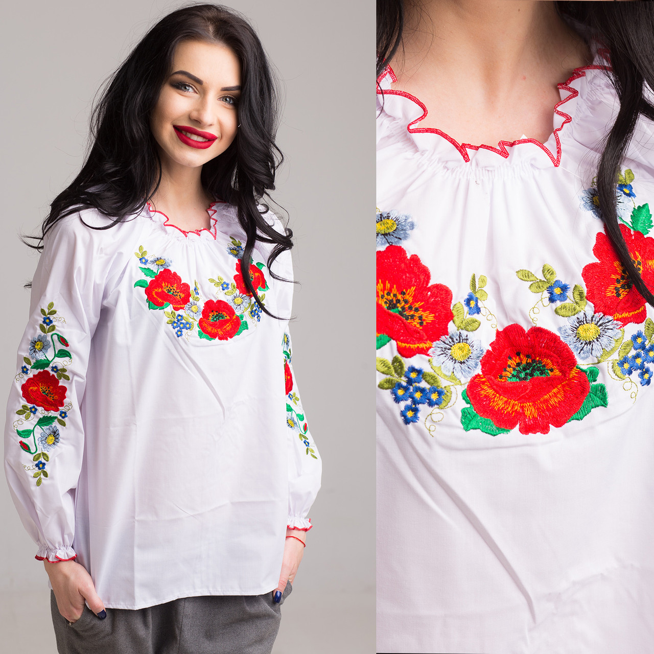 """Женская блуза с вышивкой """"Букет цветов"""""""