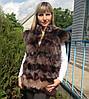 Жилетка из меха песца, воротник-стойка, рукав-крыло, длина 60 см