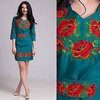 """Женское  платье с вышивкой """"Маки"""" зеленое"""