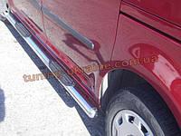 Пороги боковые труба c накладной проступью D70 на Mitsubishi Outlander 2014