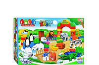 Детский конструктор Зоопарк 68 крупных деталей с фигурками зверей и растений