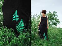 """Льняное летнее платье """"В поисках папоротника"""" вышивка, ручная работа, фото 1"""