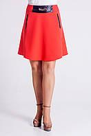Молодёжная юбка солнцеклёш красного цвета