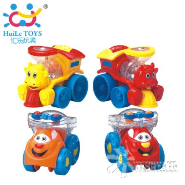Игрушка Huile Toys Мультяшная машинка (упаковка Паровоз 3шт. + Грузовик 3шт) 706
