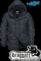 Куртка зимняя мужская на меху удлиненная Braggart Dress Code - 3205R графит