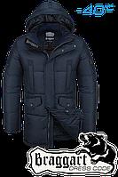Куртка зимняя мужская на меху удлиненная Braggart Dress Code - 3205E темно-синяя