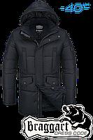 Куртка зимняя мужская на меху удлиненная Braggart Dress Code - 3205M черная